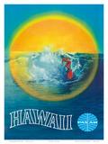 Hawaii - Hawaiian Surfer - Pan American World Airways Posters af  Pacifica Island Art