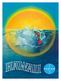 Hawaii - Hawaiian Surfer - Pan American World Airways Posters by  Pacifica Island Art