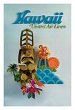 Hawaii - United Air Lines - Tiki Giclée-tryk af Pacifica Island Art