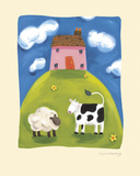 Pink Farmhouse Giclee Print by Sophie Harding