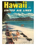 Hawaii - United Air Lines - Couple on Hawaiian Outrigger Canoe (Wa'a) Giclée-tryk af Pacifica Island Art