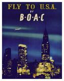 Fly to U.S.A. - New York City Night Skyline - BOAC (British Overseas Airways Corporation) Giclée-tryk af  Pacifica Island Art