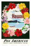 Hawaii - Flower Lei and Diamond Head Crater - Pan American World Airways Posters af A. Amspoker