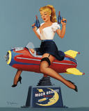 Moon Rocket Ride Giclee Print by Fiona Stephenson