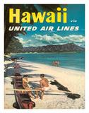 Hawaii - United Air Lines - Couple on Hawaiian Outrigger Canoe (Wa'a) Giclée-tryk af Pacifica Island Art