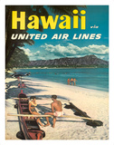 Hawaii - United Air Lines - Couple on Hawaiian Outrigger Canoe (Wa'a) Giclee Print by  Pacifica Island Art
