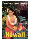 Hawaii - United Air Lines - Native Girl with Tropical Fruits Poster by  Pacifica Island Art