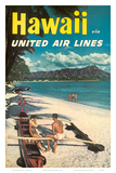 Hawaii - United Air Lines - Couple on Hawaiian Outrigger Canoe (Wa'a) Poster af Pacifica Island Art