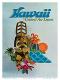 Hawaii - United Air Lines - Tiki Posters by  Pacifica Island Art