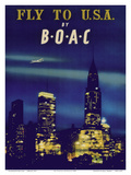 Fly to U.S.A. - New York City Night Skyline - BOAC (British Overseas Airways Corporation) Posters by  Pacifica Island Art