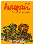 Hawaii - United Air Lines - Native Hawaiian Grass Huts Prints by  Jebray
