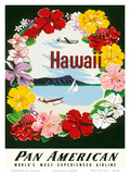 Hawaii - Flower Lei and Diamond Head Crater - Pan American World Airways Prints by A. Amspoker