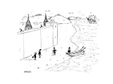 Refugees are denied entry into America - Cartoon Premium Giclee Print by David Sipress