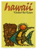 Hawaii - United Air Lines - Tiki and Moorish Idol (Kihi Kihi) Fish Print by  Jebavy