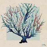 Indigo Coral on Cream II Print by Elizabeth Medley