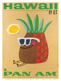 Hawaii by Jet - Pan American Airlines (PAA) - Mr. Pineapple Head Lámina por  #REF!