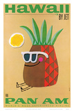 Hawaii by Jet - Pan American Airlines (PAA) - Mr. Pineapple Head Lámina por Phillips