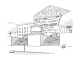 A museum-like building is dedicated to Breakfast with a large coffee cup o - New Yorker Cartoon Premium Giclee Print by Jack Ziegler