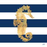 Gold Seahorse on Stripes I Posters by Julie DeRice