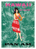 Hawaii by Clipper - Pan American Airlines - Hawaiian Hula Dancer Kunst af Al Moore