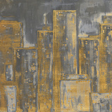 Gold City Eclipse Square I Print by Gina Ritter