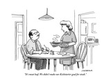 """It's meatloaf. We didn't make our Kickstarter goal for steak."" - New Yorker Cartoon Premium Giclee Print by Joe Dator"