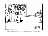 """If you retweet it and you have '0' followers, was it retweeted"" - New Yorker Cartoon Premium Giclee Print by Bruce Eric Kaplan"