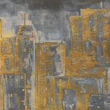 Gold City Eclipse Square III Art by Gina Ritter