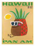 Hawaii by Jet - Pan American Airlines (PAA) - Mr. Pineapple Head Giclée-tryk af Phillips