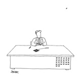 "A man is seated as his desk, looking up with a fly swatter in front of him"" - New Yorker Cartoon Premium Giclee Print by Jack Ziegler"
