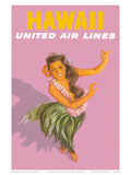 Hawaiian Hula Dancer - United Air Lines Plakater af Stan Galli