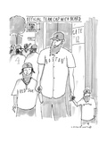 """A man and his two sons, all wear Red Sox gear including """"official team cap - New Yorker Cartoon Premium Giclee Print by Michael Crawford"""