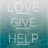 Love, Give, Help (teal) Plakat autor Sd Graphics Studio