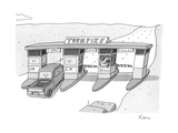 "There is a toll both with a ""riddles"" lane. The toll taker is a troll. - New Yorker Cartoon Premium Giclee Print by Zachary Kanin"