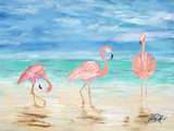 Flamingo Beach I Posters by Julie DeRice