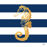 Gold Seahorse on Stripes II Prints by Julie DeRice