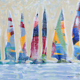 Dozen Colorful Boats Square II Prints by Dan Meneely