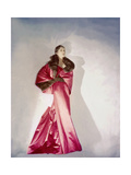 Model Mary Jane Russell Wearing Red Satin Evening Gown with Slim Front and Flowing Back Regular Photographic Print