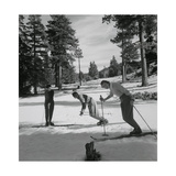 Patricia Metzgar Looks on as Ski Instructor Gives Mrs. Casey a Lesson in Basic Ski Postions Photographic Print