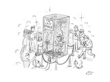 "(A man smokes cigarettes in a glass box with a sign that reads ""The Last S - New Yorker Cartoon Premium Giclee Print by Farley Katz"