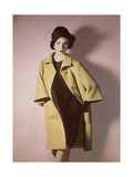 Duplicate of Model Wearing Bright Yellow Coat over Black Dress with Black Hat Regular Photographic Print