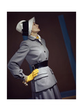 Model Wearing Belted Fitted Gray Suit Photographic Print