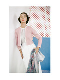 Model Wearing Pink Sweater over Confetti-Print Cotton Blouse by Evelyn Gates Photographic Print