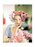 Portrait of Model in Headdress of Pink and Mauve Lilacs in Loose Bunches Photographic Print