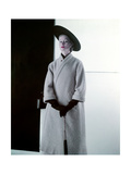 Model in Wheat Wool Tweed Coat That Is Shaped Like a Bathrobe Photographic Print