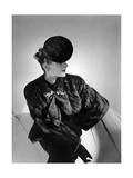 Model Andree Lorain Wearing Mink Jacket with Drawstring Neck and Be-Ribboned Felt Beret Regular Photographic Print