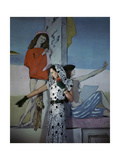 Model Standing before a Mural by Vertes Wearing a Hooded Black and White Print Rayon Creped Dress Photographic Print