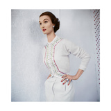 Model Wearing White Ribboned Cashmere Sweater by Evelyn Gates Regular Photographic Print