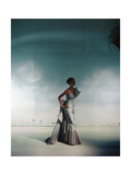 Model Wearing Gray Bustled Silk Taffeta Strapless Evening Gown from Jay Thorpe Regular Photographic Print