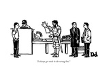 """I always get stuck in the wrong line."" - New Yorker Cartoon Premium Giclee Print by Drew Dernavich"